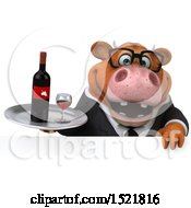 Clipart Of A 3d Brown Business Cow Holding A Wine Tray On A White Background Royalty Free Illustration by Julos