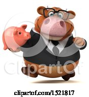 Clipart Of A 3d Brown Business Cow Holding A Piggy Bank On A White Background Royalty Free Illustration by Julos