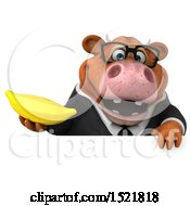 Clipart Of A 3d Brown Business Cow Holding A Banana On A White Background Royalty Free Illustration by Julos