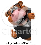 Clipart Of A 3d Brown Business Cow Holding A Thumb Up On A White Background Royalty Free Illustration by Julos