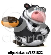 Clipart Of A 3d Business Holstein Cow Holding A Donut On A White Background Royalty Free Illustration by Julos