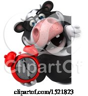 Clipart Of A 3d Business Holstein Cow Holding An Alarm Clock On A White Background Royalty Free Illustration by Julos