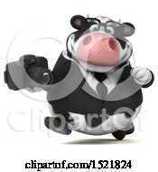 Clipart Of A 3d Business Holstein Cow Holding A Camera On A White Background Royalty Free Illustration by Julos