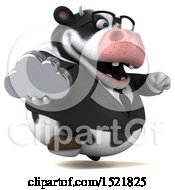 Clipart Of A 3d Business Holstein Cow Holding A Cloud On A White Background Royalty Free Illustration by Julos