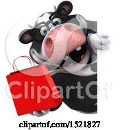 Clipart Of A 3d Business Holstein Cow Holding A Shopping Bag On A White Background Royalty Free Illustration by Julos
