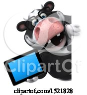 Clipart Of A 3d Business Holstein Cow Holding A Tablet On A White Background Royalty Free Illustration by Julos