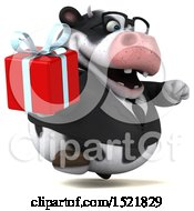 Clipart Of A 3d Business Holstein Cow Holding A Gift On A White Background Royalty Free Illustration by Julos