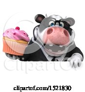Clipart Of A 3d Business Holstein Cow Holding A Cupcake On A White Background Royalty Free Illustration by Julos