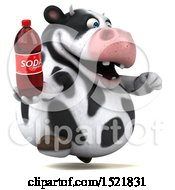 Clipart Of A 3d Holstein Cow Holding A Soda On A White Background Royalty Free Illustration by Julos