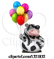Clipart Of A 3d Holstein Cow Holding Balloons On A White Background Royalty Free Illustration by Julos