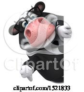 Clipart Of A 3d Business Holstein Cow Holding A Thumb Down On A White Background Royalty Free Illustration by Julos