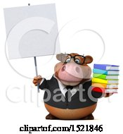 Clipart Of A 3d Brown Business Cow Holding Books On A White Background Royalty Free Illustration by Julos