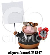 Clipart Of A 3d Brown Business Cow Holding An Alarm Clock On A White Background Royalty Free Illustration by Julos