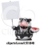 Clipart Of A 3d Business Holstein Cow Holding A Steak On A White Background Royalty Free Illustration by Julos