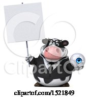 Clipart Of A 3d Business Holstein Cow Holding An Eye On A White Background Royalty Free Illustration by Julos