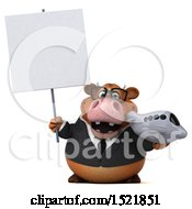 Clipart Of A 3d Brown Business Cow Holding A Plane On A White Background Royalty Free Illustration by Julos