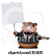 Clipart Of A 3d Brown Business Cow Holding A Wrench On A White Background Royalty Free Illustration by Julos