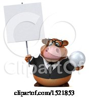 Clipart Of A 3d Brown Business Cow Holding A Golf Ball On A White Background Royalty Free Illustration by Julos