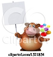 Poster, Art Print Of 3d Brown Cow Holding Messages On A White Background