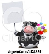 Poster, Art Print Of 3d Business Holstein Cow Holding Messages On A White Background