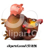 Clipart Of A 3d Chubby Brown Chicken Holding A Piggy Bank On A White Background Royalty Free Illustration