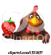 Clipart Of A 3d Chubby Brown Chicken Holding A Strawberry On A White Background Royalty Free Illustration