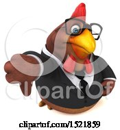 Clipart Of A 3d Chubby Brown Business Chicken Holding A Thumb Down On A White Background Royalty Free Illustration