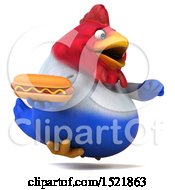 Clipart Of A 3d Chubby French Chicken Holding A Hot Dog On A White Background Royalty Free Illustration by Julos