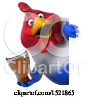 Clipart Of A 3d Chubby French Chicken Holding A Beer On A White Background Royalty Free Illustration by Julos