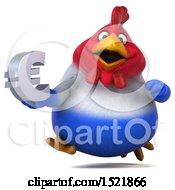 Clipart Of A 3d Chubby French Chicken Holding A Euro On A White Background Royalty Free Illustration by Julos