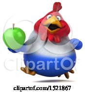 Clipart Of A 3d Chubby French Chicken Holding An Apple On A White Background Royalty Free Illustration by Julos