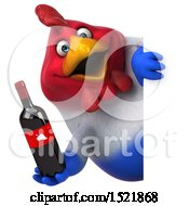 Clipart Of A 3d Chubby French Chicken Holding A Wine Bottle On A White Background Royalty Free Illustration by Julos