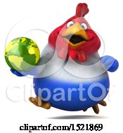 Clipart Of A 3d Chubby French Chicken Holding A Globe On A White Background Royalty Free Illustration by Julos