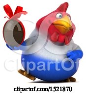 Clipart Of A 3d Chubby French Chicken Holding A Chocolate Egg On A White Background Royalty Free Illustration by Julos
