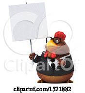 Clipart Of A 3d Chubby Brown Business Chicken Holding A Sign On A White Background Royalty Free Illustration