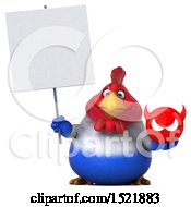 Clipart Of A 3d Chubby French Chicken Holding A Devil On A White Background Royalty Free Illustration by Julos