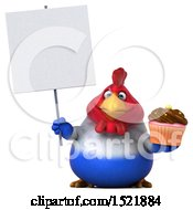 Clipart Of A 3d Chubby French Chicken Holding A Cupcake On A White Background Royalty Free Illustration by Julos