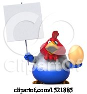 Clipart Of A 3d Chubby French Chicken Holding An Egg On A White Background Royalty Free Illustration by Julos