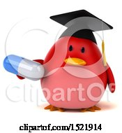 3d Chubby Red Bird Graduate Holding A Pill On A White Background