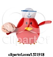 Clipart Of A 3d Chubby Red Bird Sailor Holding A Brain On A White Background Royalty Free Illustration