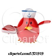 Clipart Of A 3d Chubby Red Bird Sailor Holding A Steak On A White Background Royalty Free Illustration