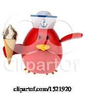 Clipart Of A 3d Chubby Red Bird Sailor Holding Ice Cream On A White Background Royalty Free Illustration