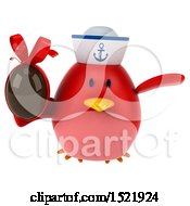 Clipart Of A 3d Chubby Red Bird Sailor Holding A Chocolate Egg On A White Background Royalty Free Illustration