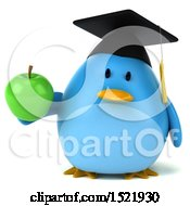 Clipart Of A 3d Chubby Blue Bird Graduate Holding An Apple On A White Background Royalty Free Illustration