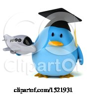 Clipart Of A 3d Chubby Blue Bird Graduate Holding A Plane On A White Background Royalty Free Illustration
