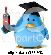Clipart Of A 3d Chubby Blue Bird Graduate Holding Wine On A White Background Royalty Free Illustration