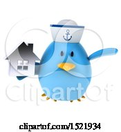 Clipart Of A 3d Chubby Blue Bird Sailor Holding A House On A White Background Royalty Free Illustration
