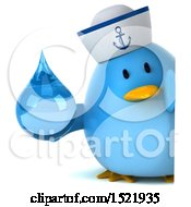 Clipart Of A 3d Chubby Blue Bird Sailor Holding A Water Drop On A White Background Royalty Free Illustration