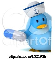 3d Chubby Blue Bird Sailor Holding A Pill On A White Background