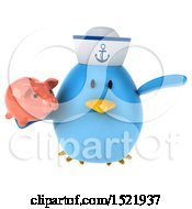 Clipart Of A 3d Chubby Blue Bird Sailor Holding A Piggy Bank On A White Background Royalty Free Illustration